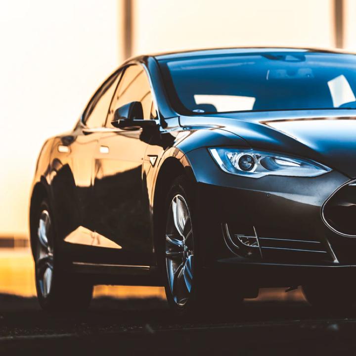Close up shot of a black car