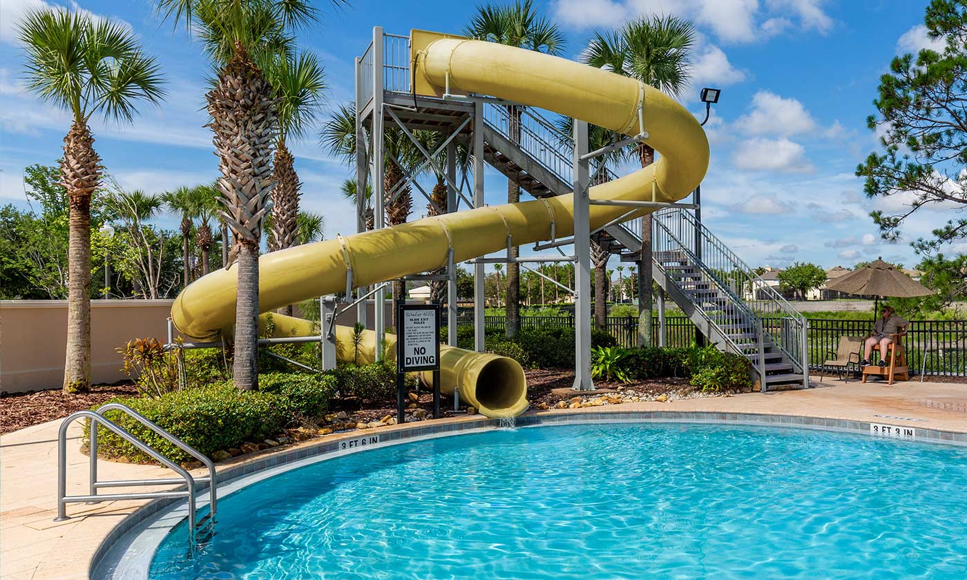 Large waterslide and pool at Windsor Hills