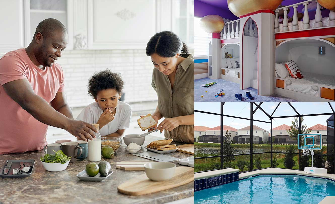 Family in a home with beautiful kitchen, kids bedroom and pool